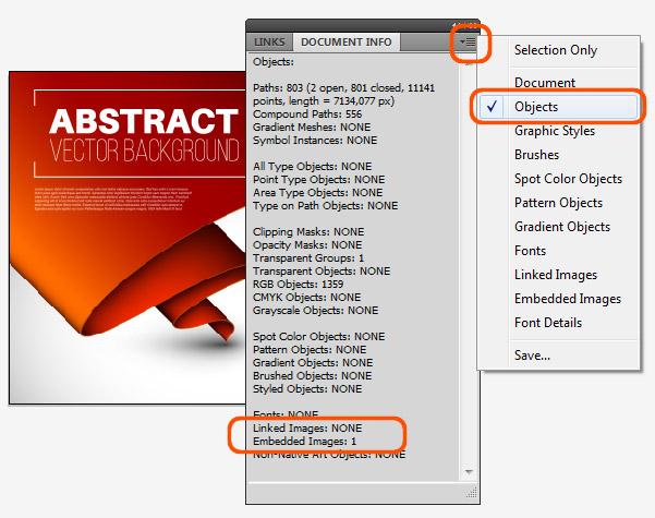 Kontrola přítomnosti bitmapy v ilustraci pomocí panelu Document Info