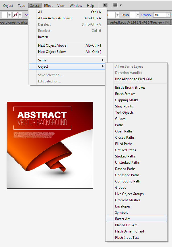 Nalezení bitmapy v ilustraci pomocí pluginu Select menu