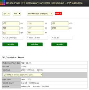 Přepočet mezi DPI, milimetry a palci