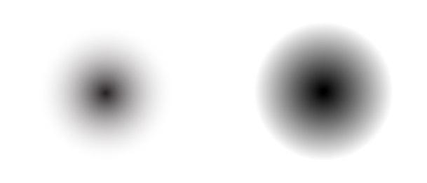 Porovnání stínu tvořeného kruhovým gradientem a blendem