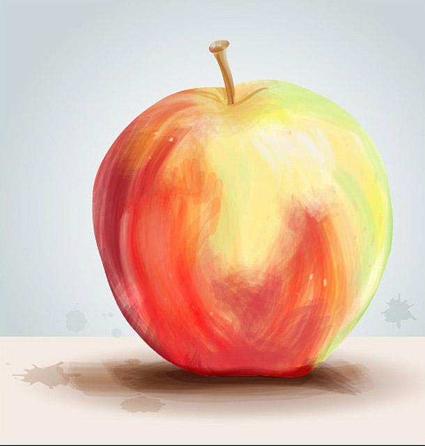 V Illustrátoru malované jablko