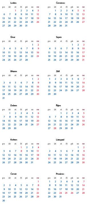Pluginem vygenerovaný kalendář