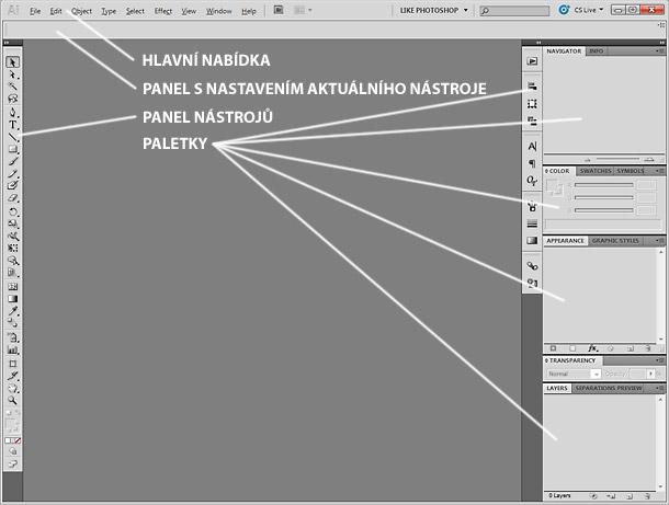 První spuštění Adobe Illustratoru