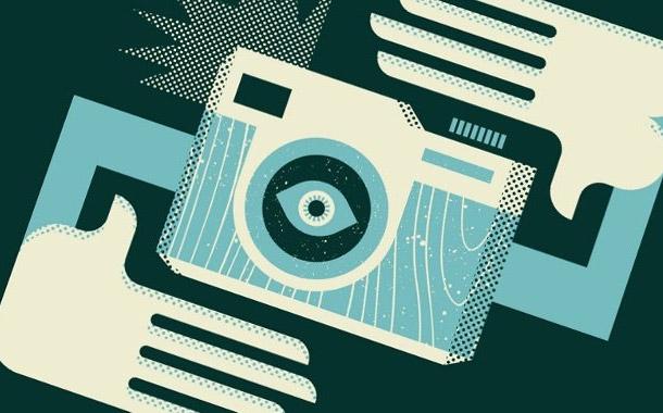 Retro ilustrace fotoaparátu na triko