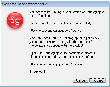 Potvrzení licence Scriptographeru