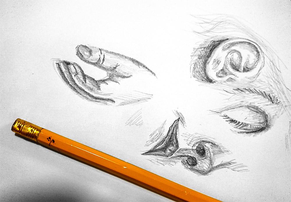 22. den - tělo - kresba tužkou