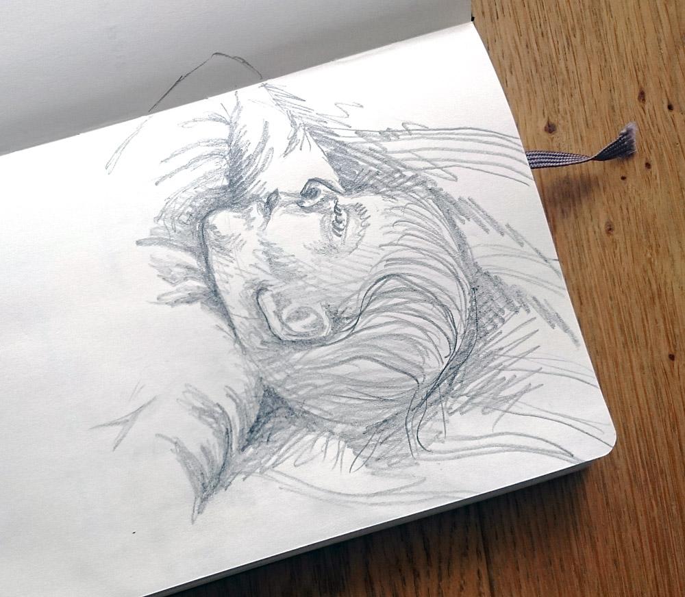 10. den - Hlava. Spící dcerka, nakreslená tužkou.