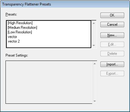 Přehled profilů pro export průhlednosti