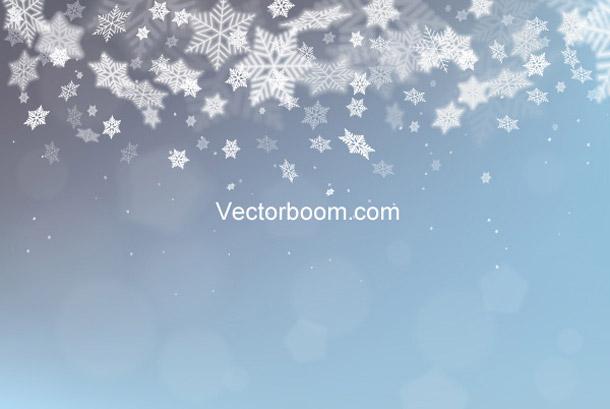 Vánoční pozadí s rozmazanými vločkami