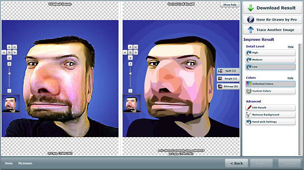 Původní bitmapový obrázek je v levé části, napravo je pak vektorová verze